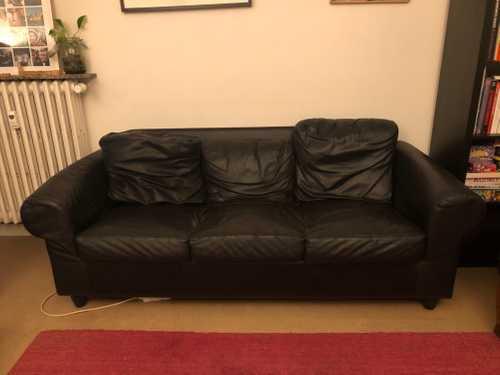 Canapé cuir noir 3 places