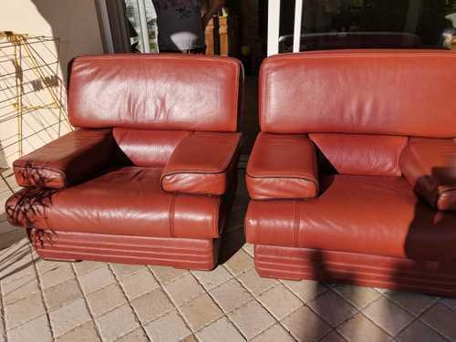 Canapè cuir et 2 fauteuils