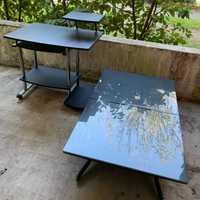 Bureau informatique et table basse réglable